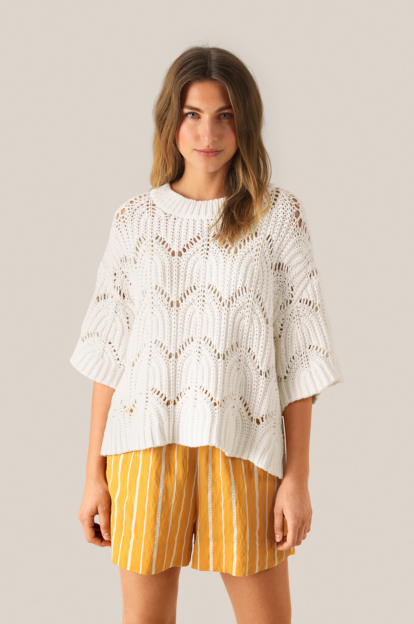 Tamma Knit O-Neck - White Alyssum-2