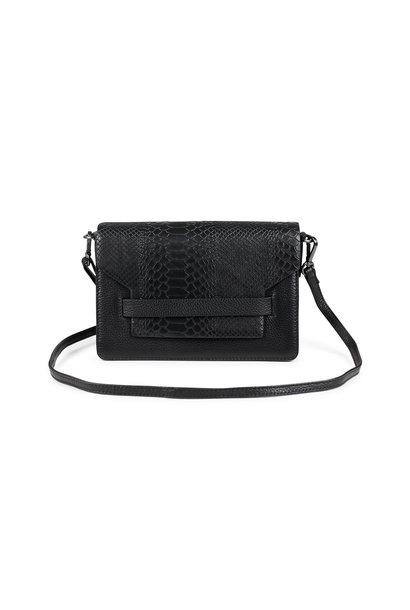 Arabella Crossbody Bag Snake - Black w/ Black