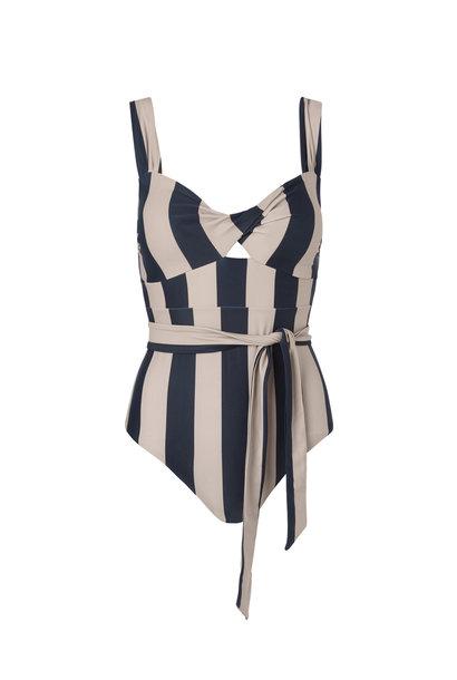 Obi Twist Swimsuit - Noir Stripe M