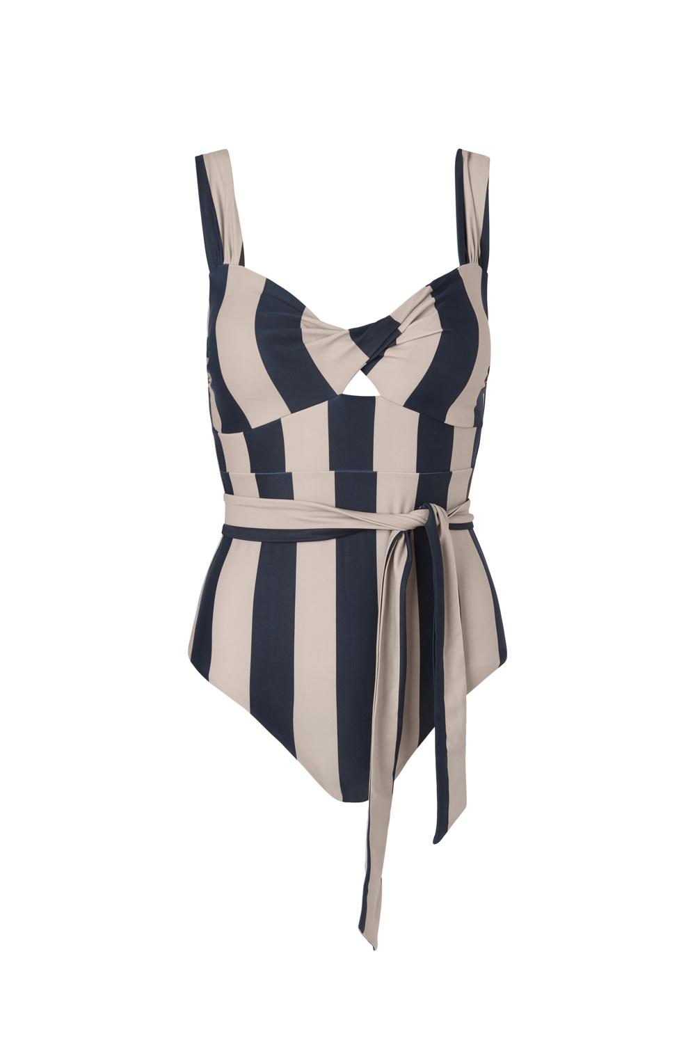 Obi Twist Swimsuit - Noir Stripe M-1