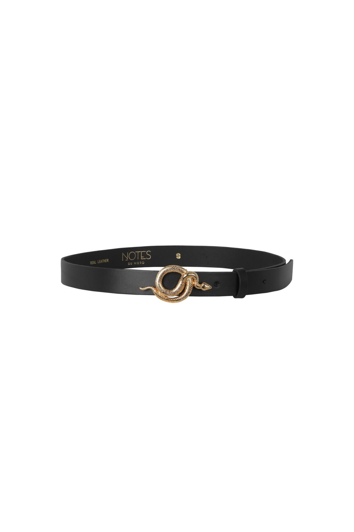 Paxton Leather Belt - Black / Gold-1