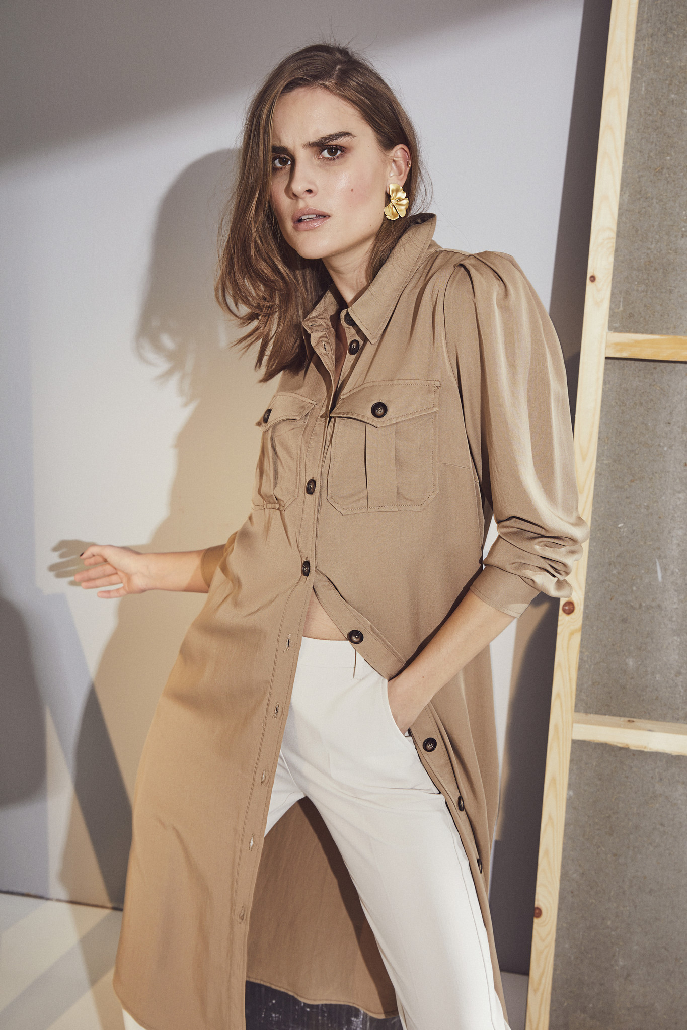 Uni Shirt Dress - Khaki-2