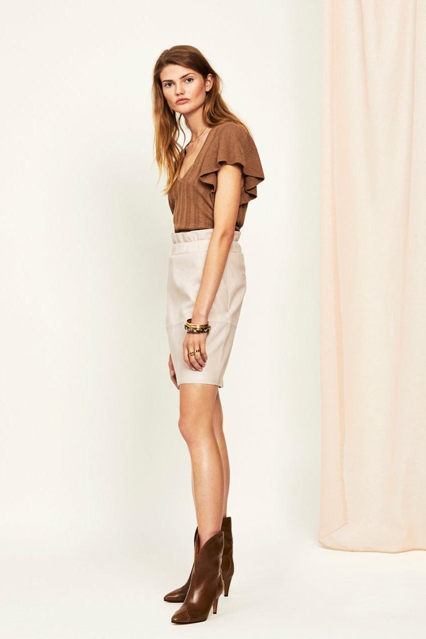 Adyn Leather Skirt - Ivory-4