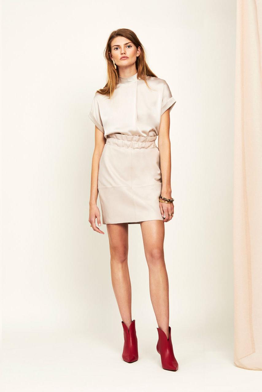 Adyn Leather Skirt - Ivory-2