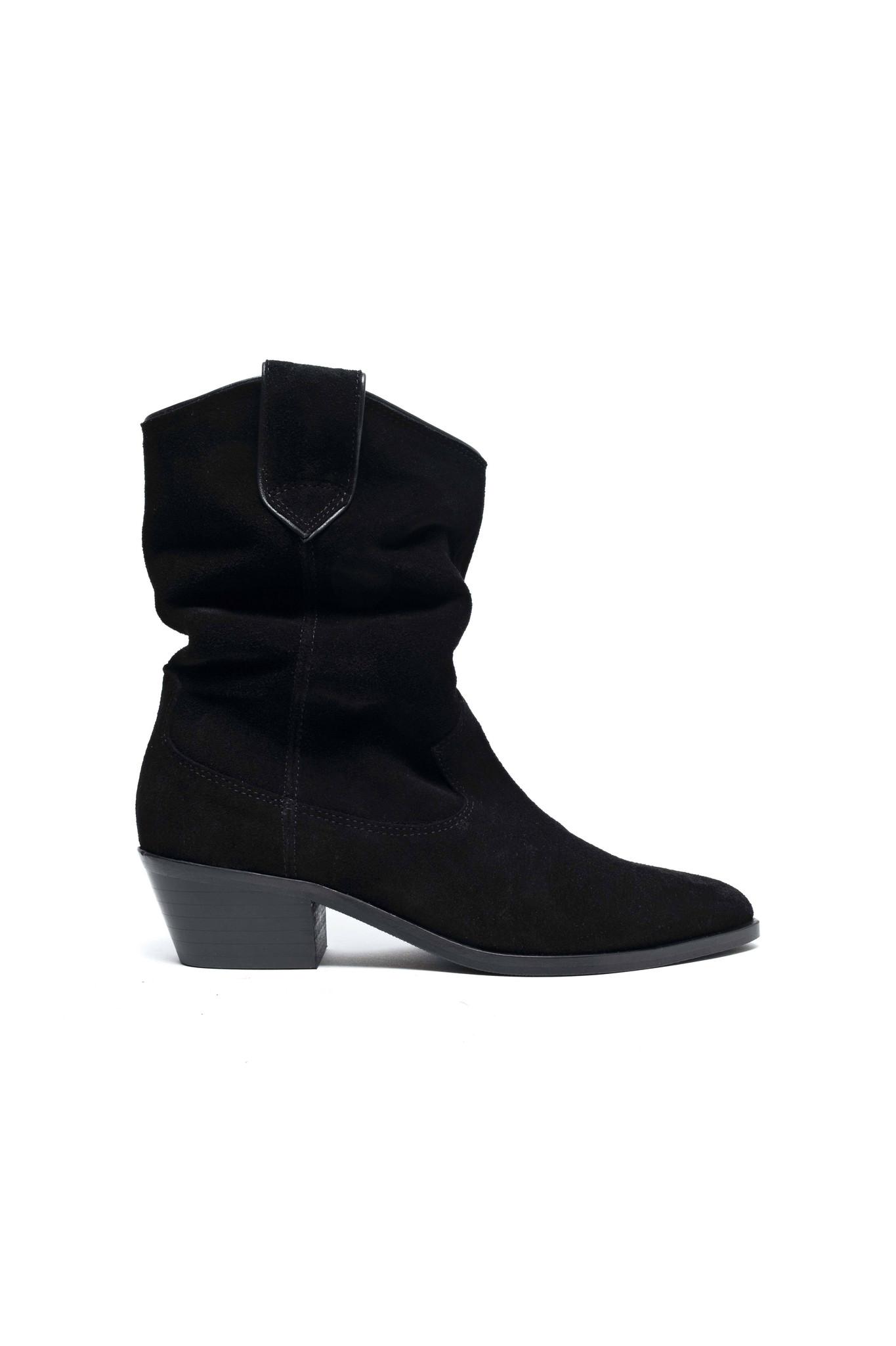 Saseline 35 Calf Suede Boot - Black-1