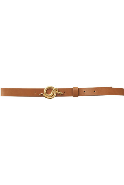 Paxton Leather Belt - Cognac / Gold