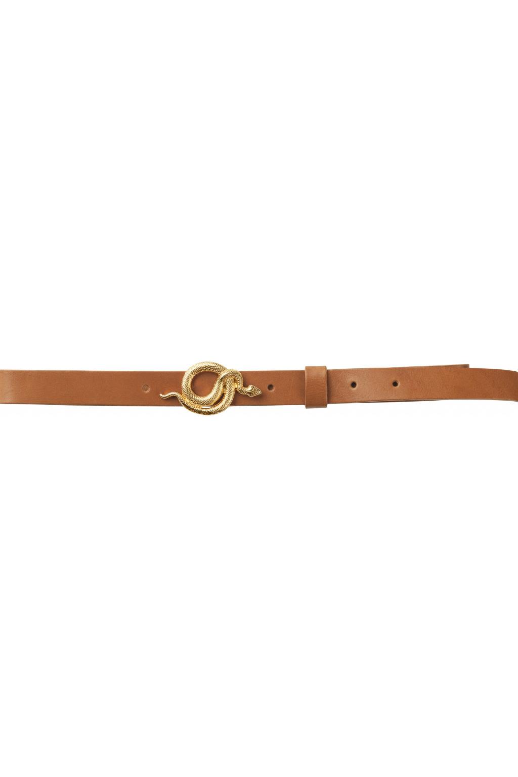 Paxton Leather Belt - Cognac / Gold-1