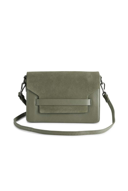 Arabella Crossbody Bag Suede Mix - Olive w/ Black