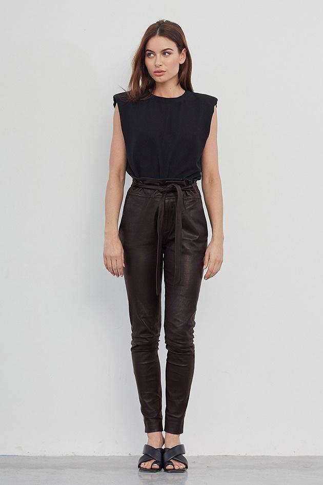 Ann Leather Pant - Dark Chocolate-2