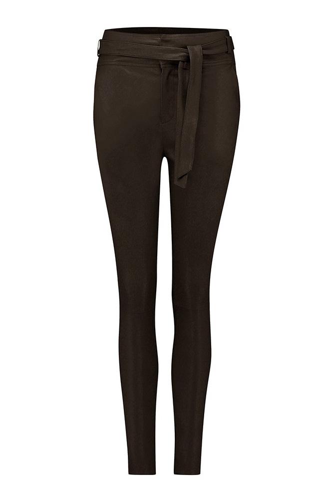 Ann Leather Pant - Dark Chocolate-1