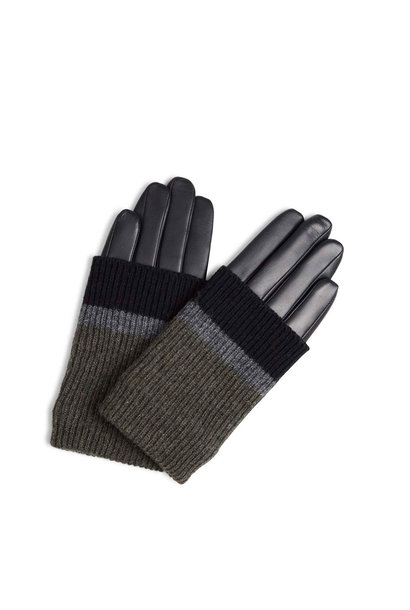Helly Handschoen - Zwart met Zwart + Grijs + Olive