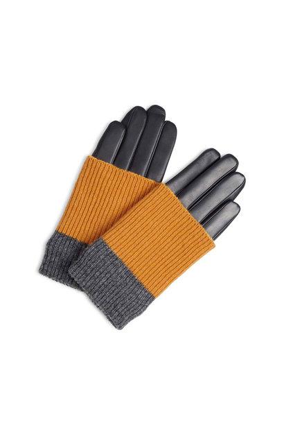 Helly Handschoen - Zwart met Amber + Grijs