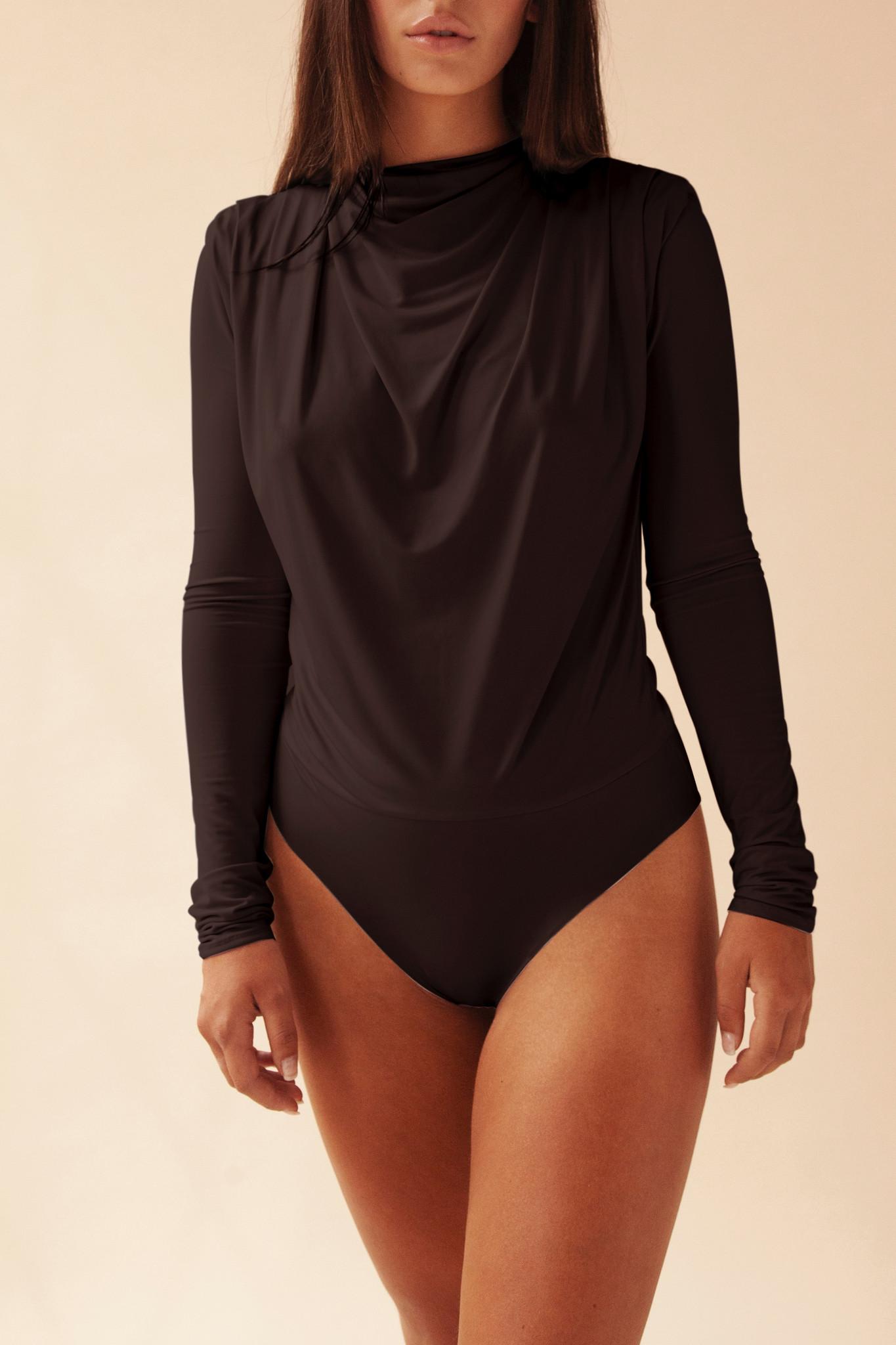 Gathered Long Sleeve Body - Zwart-1