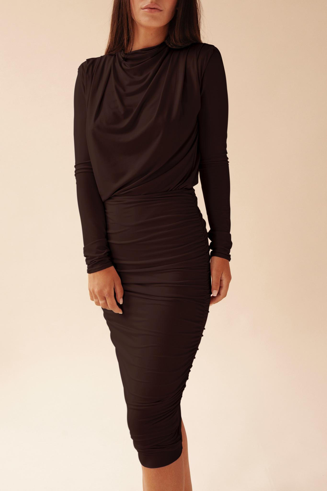 Gathered Skirt - Black-2