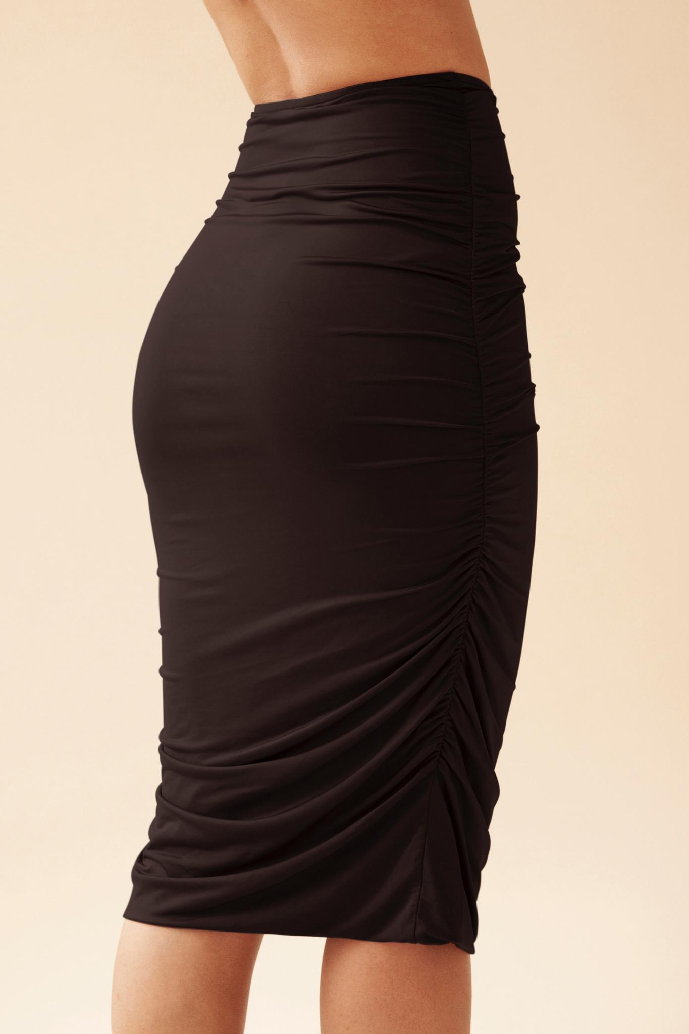 Gathered Skirt - Black-3