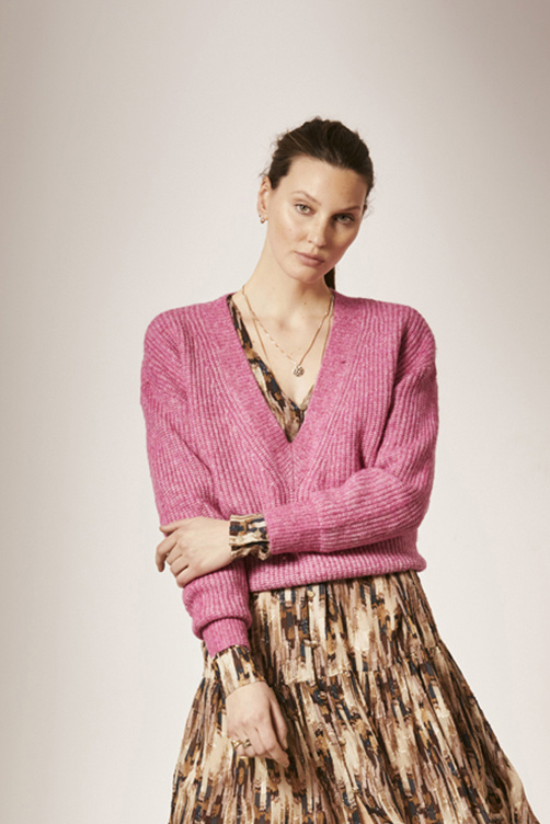 Taos Cropped Knitted Sweater - Ultra Pink-2
