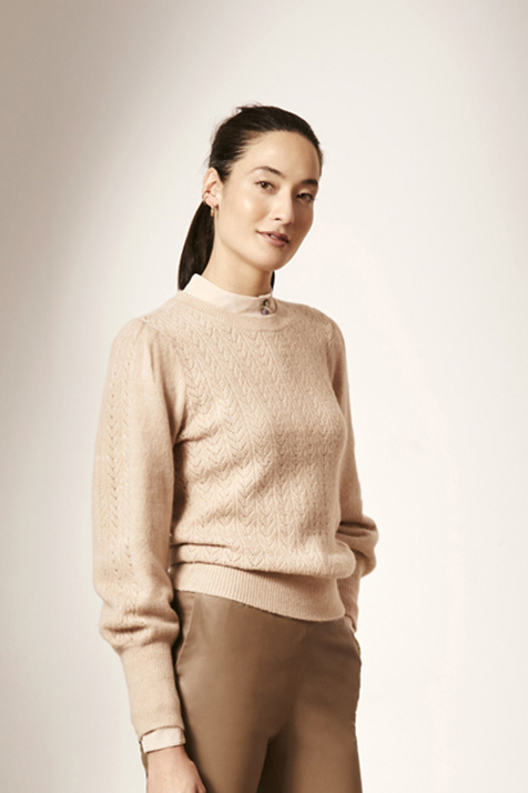 Kinsley Ajour Knit Sweater - Light Powder Rose L-2