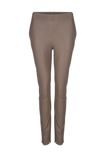 Lebon Stretch Leather Pants - Taupe