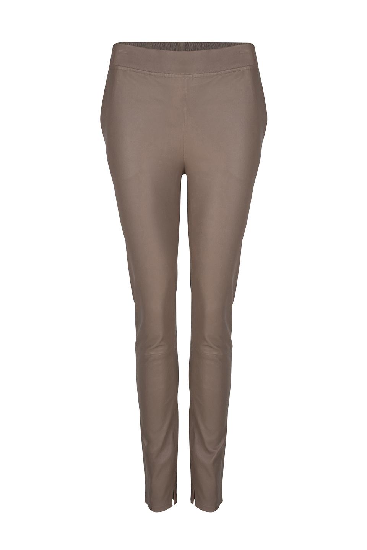Lebon Stretch Leather Pants - Taupe-1