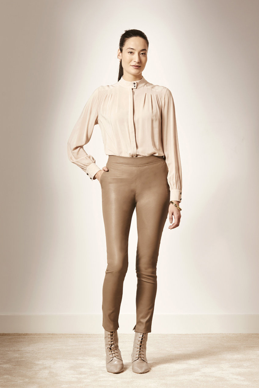 Lebon Stretch Leather Pants - Taupe-2