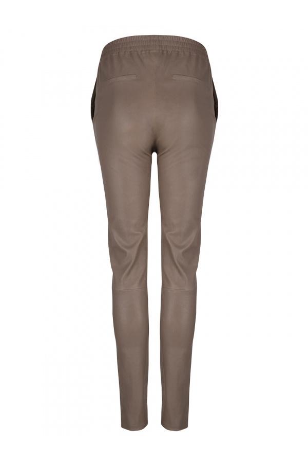 Lebon Stretch Leather Pants - Taupe-3