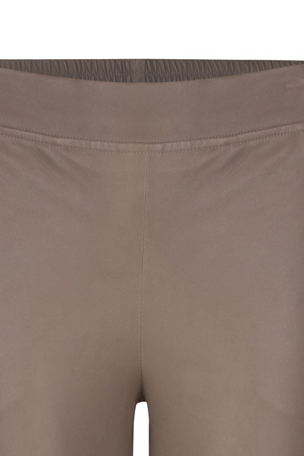 Lebon Stretch Leather Pants - Taupe-4