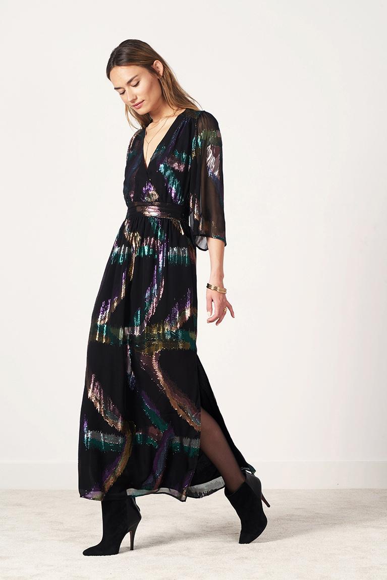 Karyn Silk Lurex Maxi Dress - Multicolour-2