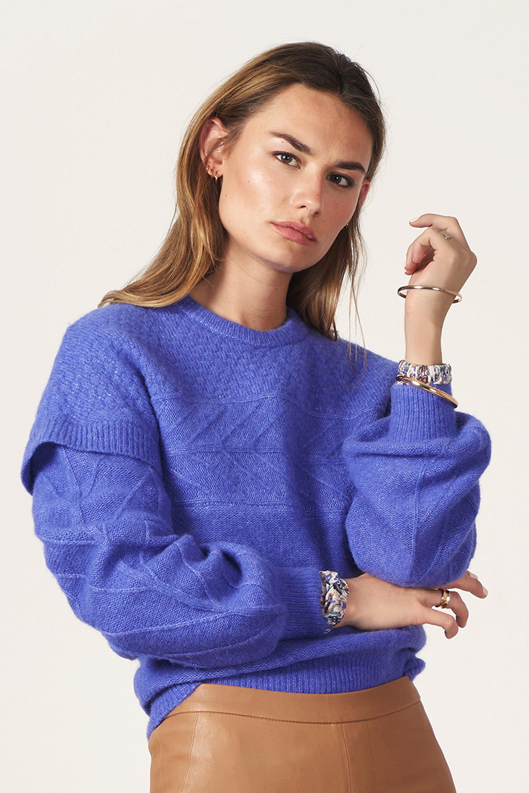 Oakly Knit Cable Sweater - Violet Ice Paars-2