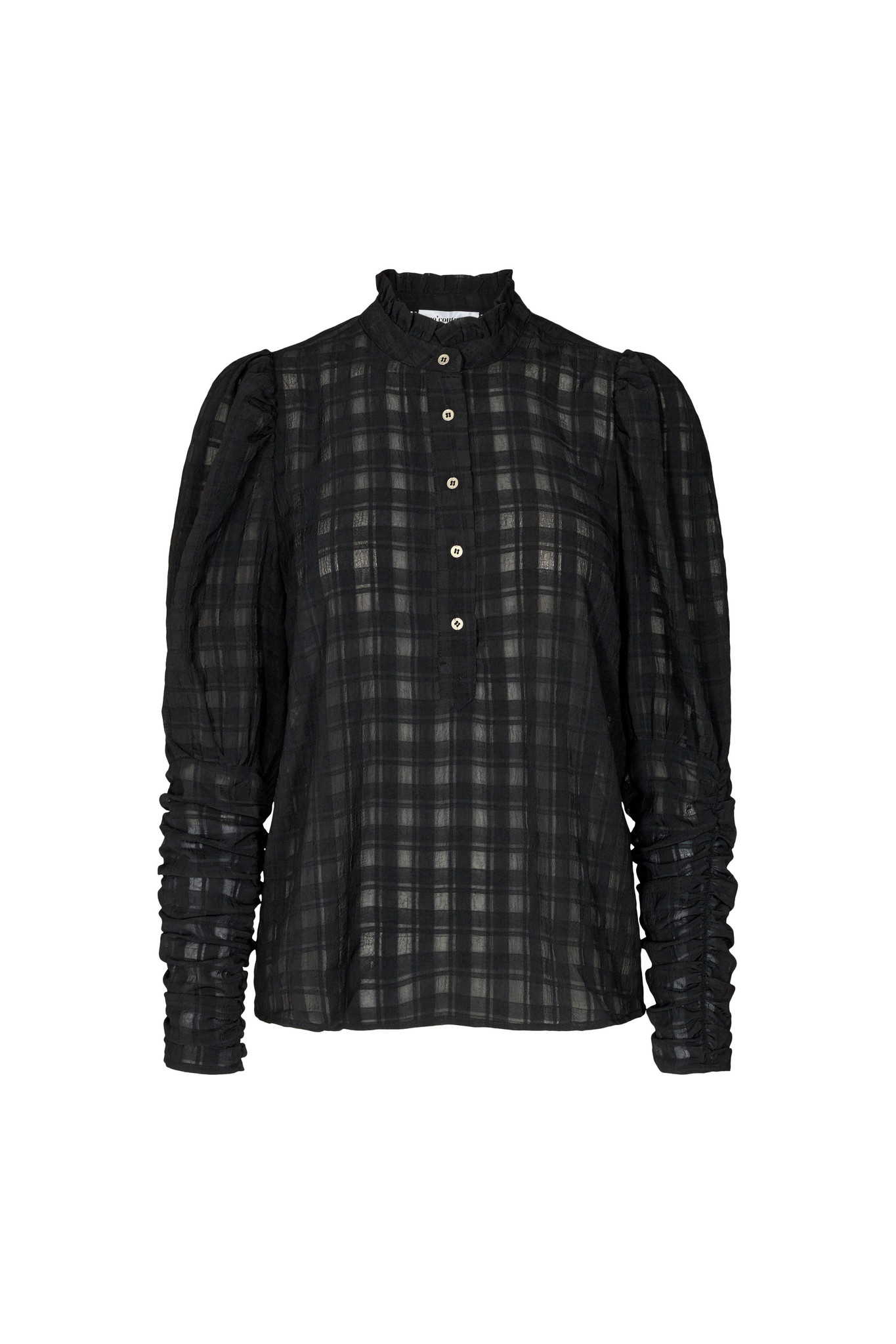 Rowland Puff Sleeve Shirt - Black-1