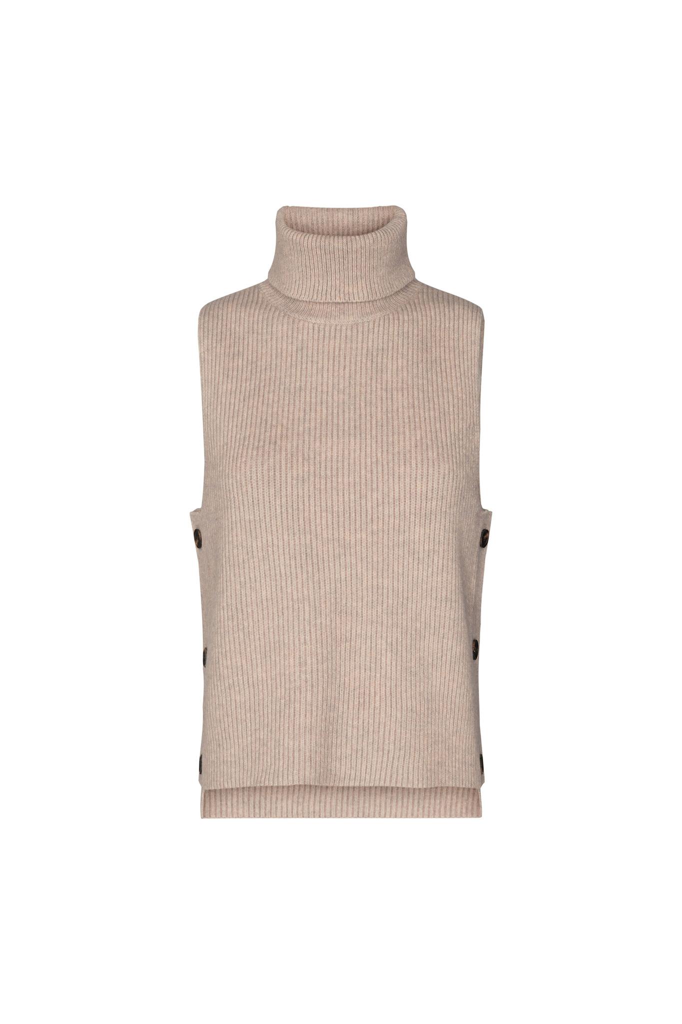 Row Button Vest - Bone-1