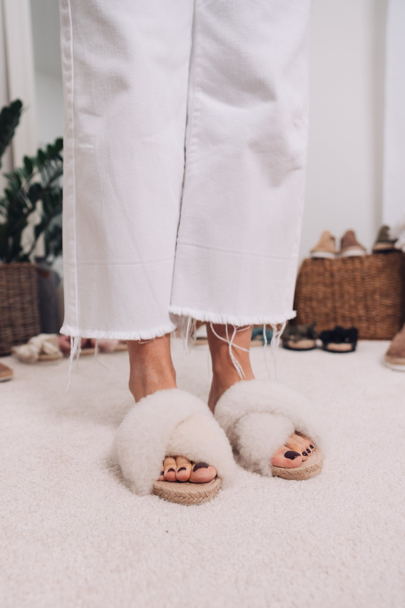 Lori Sheepskin Wool Slippers - Off White-5