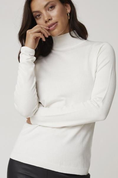 Lana Roll Neck Knit - Broken White-2