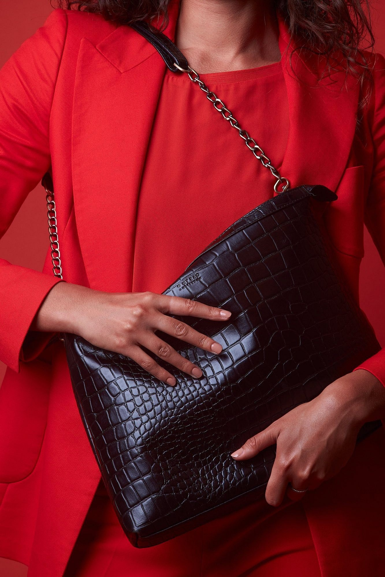 Scarlet Bag - Black Croco Classic Leather-5
