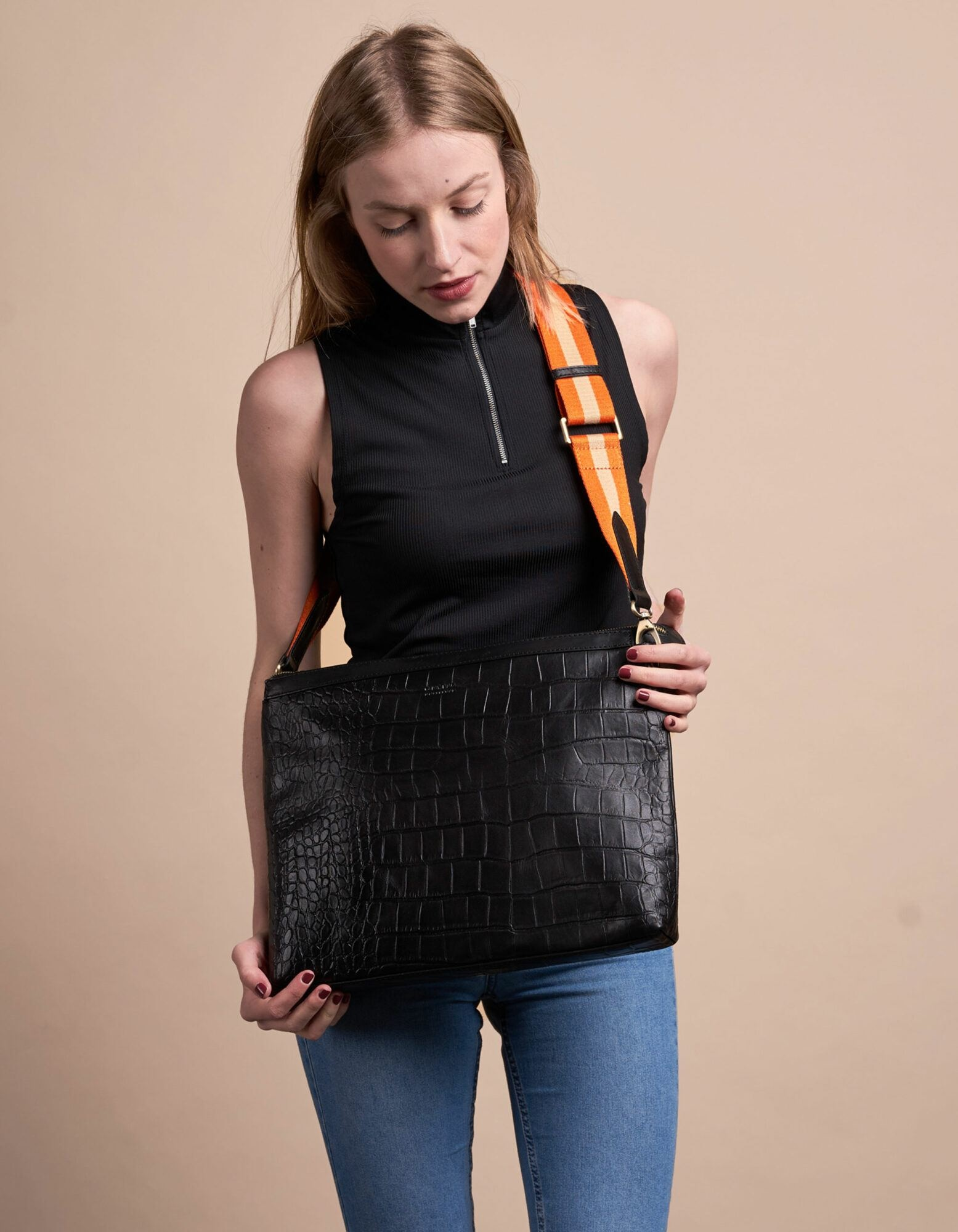 Scarlet Bag - Black Croco Classic Leather-7