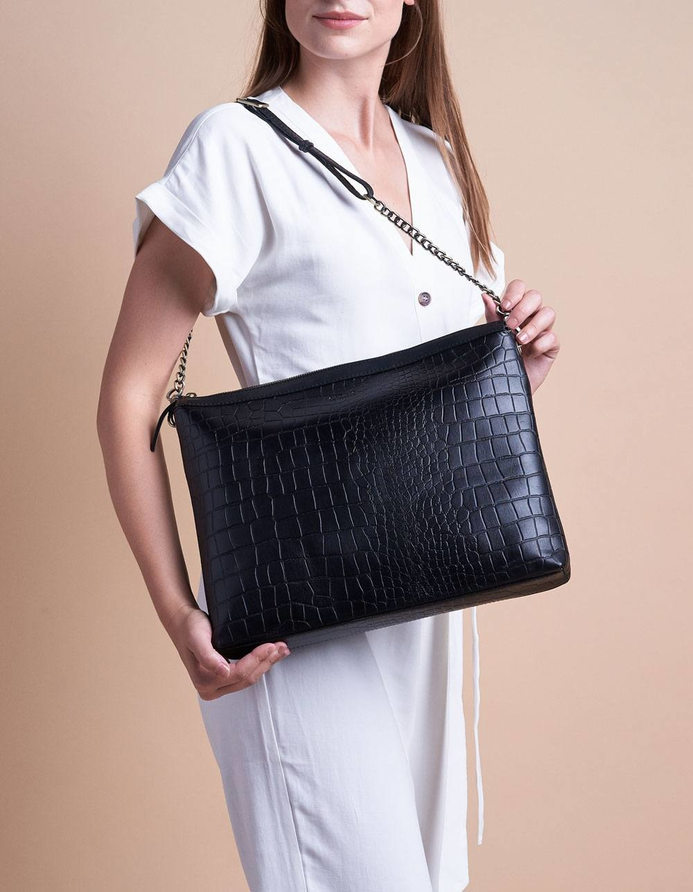 Scarlet Bag - Black Croco Classic Leather-8