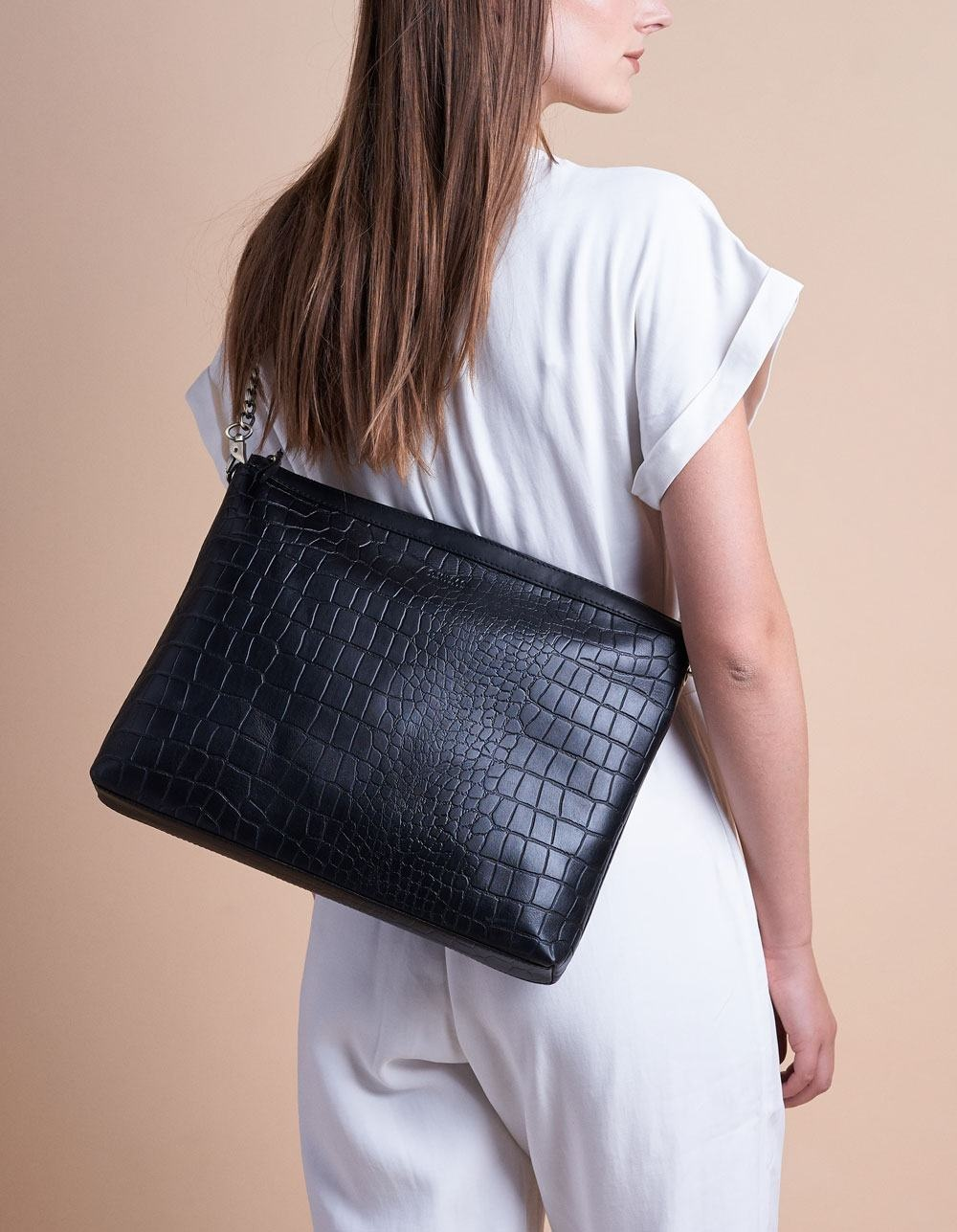 Scarlet Bag - Black Croco Classic Leather-9