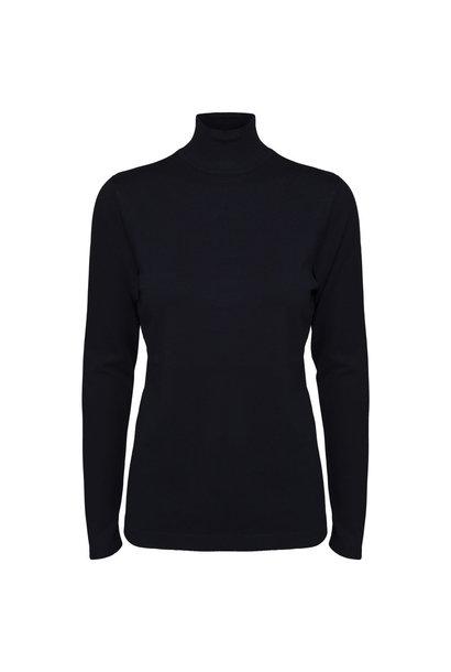 Lana Roll Neck Knit - Zwart Iris Solid