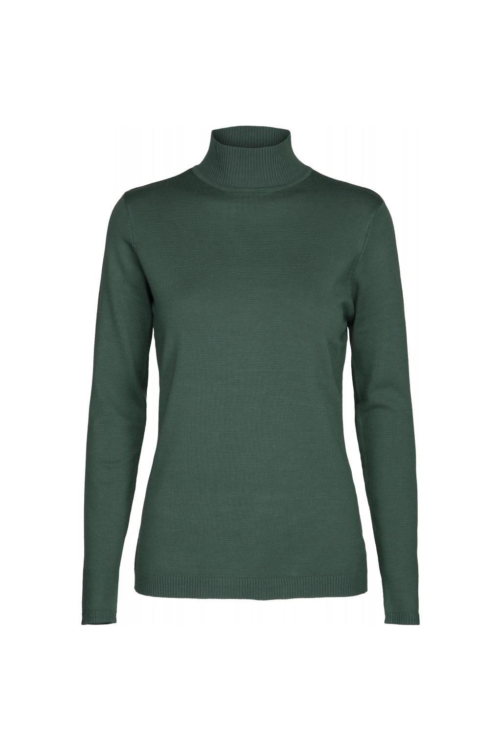 Lana Roll Neck Knit - Hunter Green Melange-1