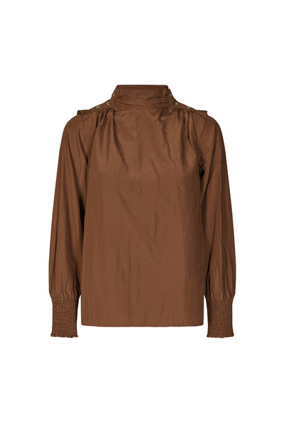 Keeva Drape Blouse - Walnut