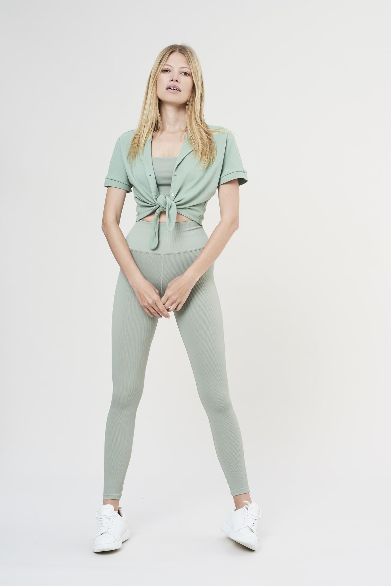 Luna Rib Legging - Sage-3