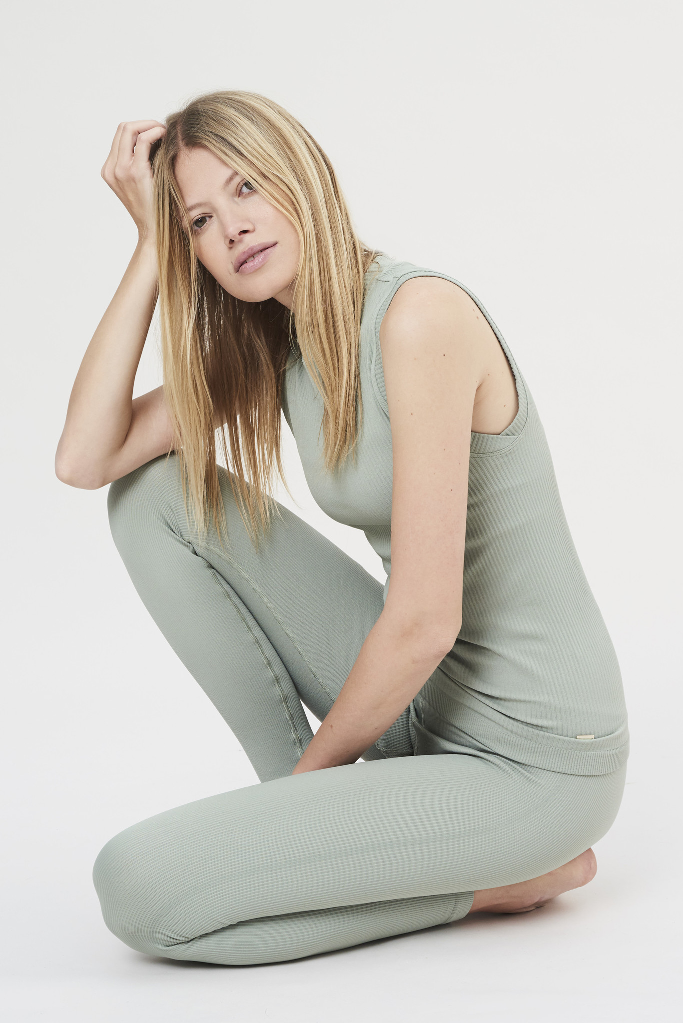 Luna Rib Legging - Sage-7