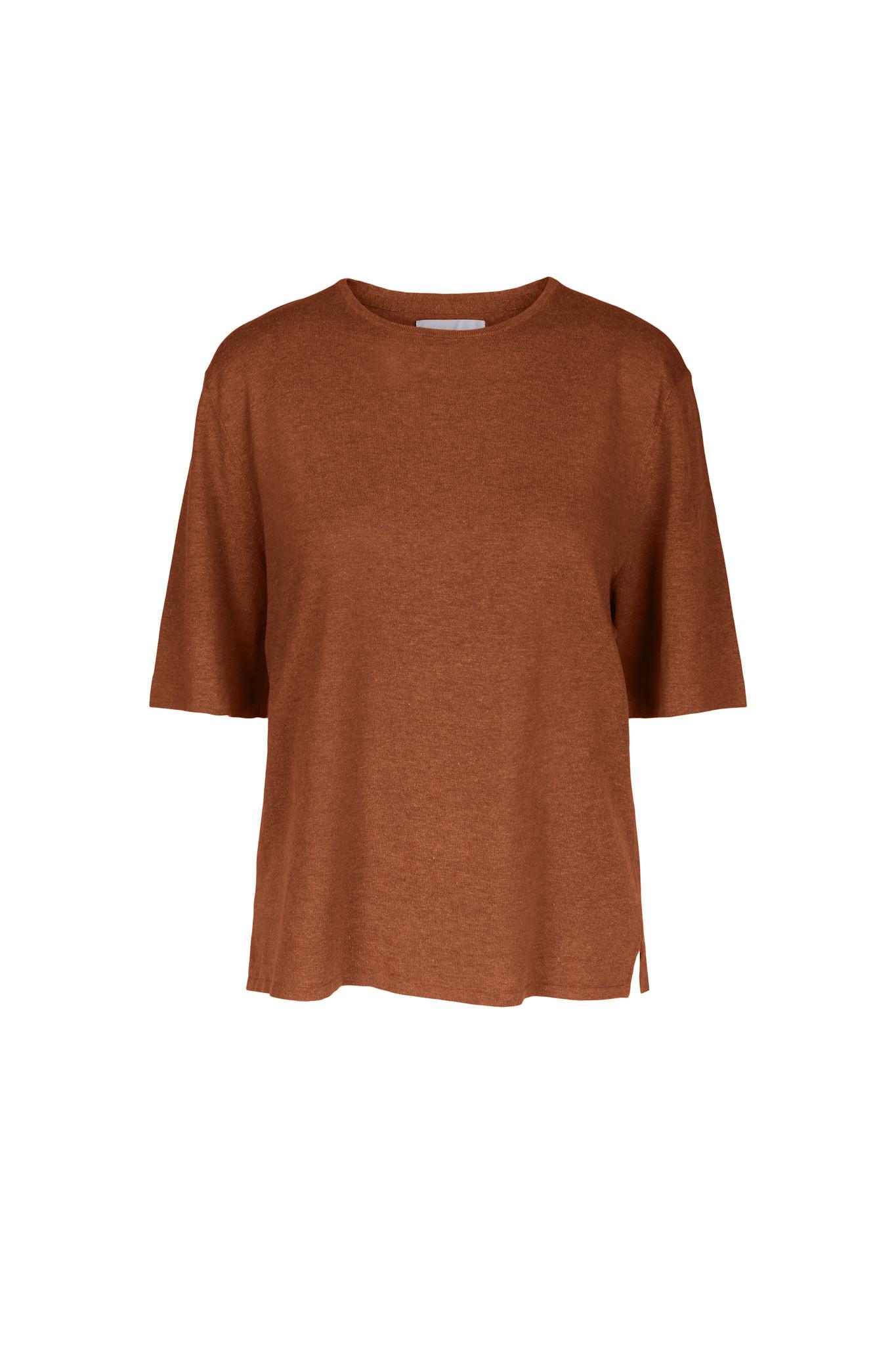 Joe Knitted Tee - Caramel Melange-1