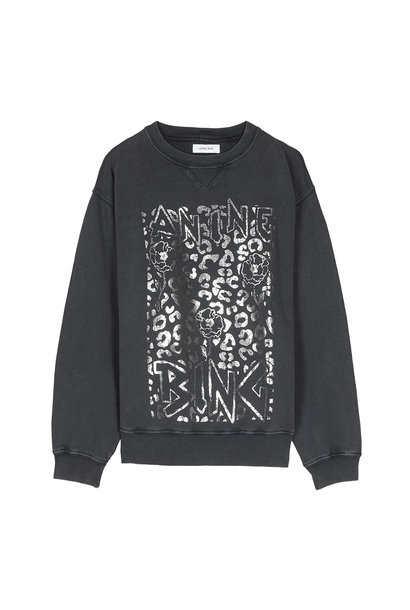 Ramona Leopard Sweatshirt - Washed Black