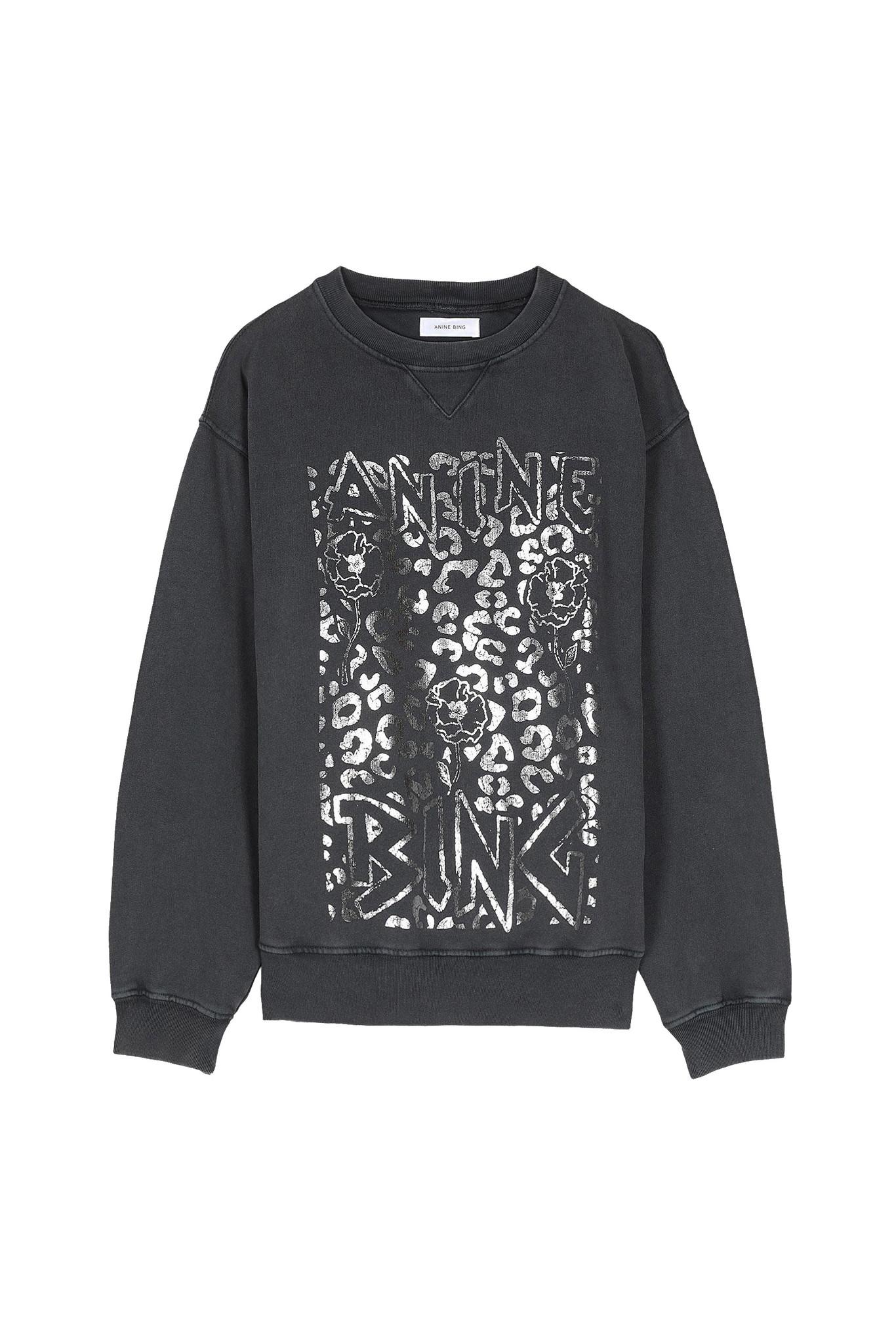 Ramona Leopard Sweatshirt - Washed Black-1