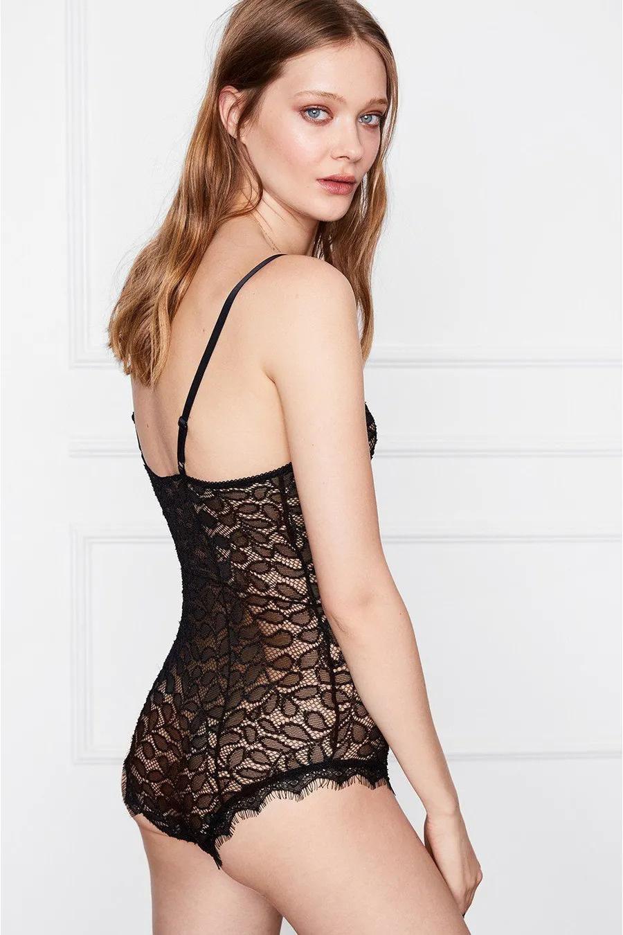Lace Bodysuit - Black-2