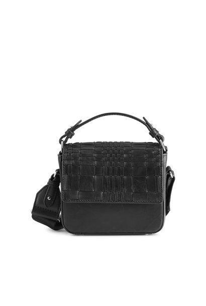Adora Small Crossbody Bag - Woven Black w/ Black