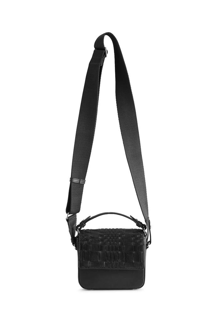 Adora Small Crossbody Tas - Woven Zwart met Zwart-6