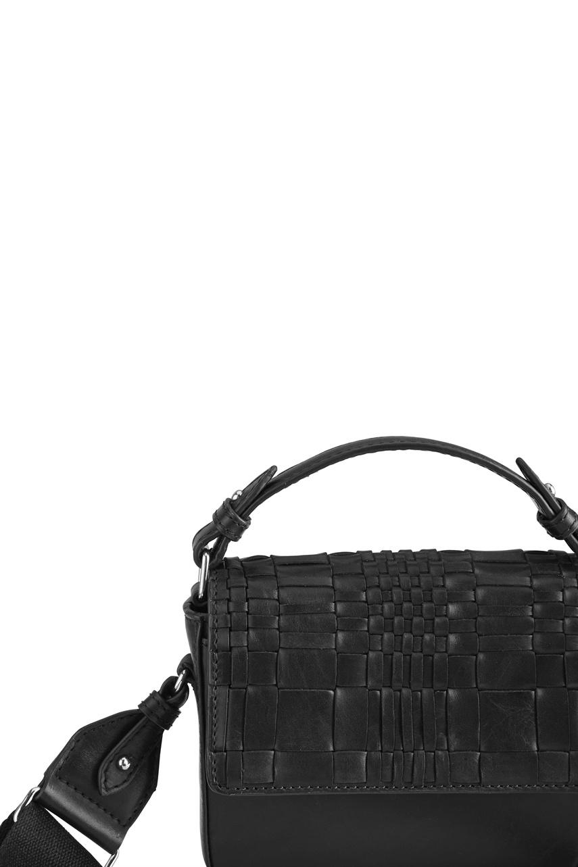 Adora Small Crossbody Tas - Woven Zwart met Zwart-3