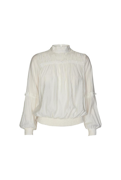 Avery Frill Smock Blouse - Off White