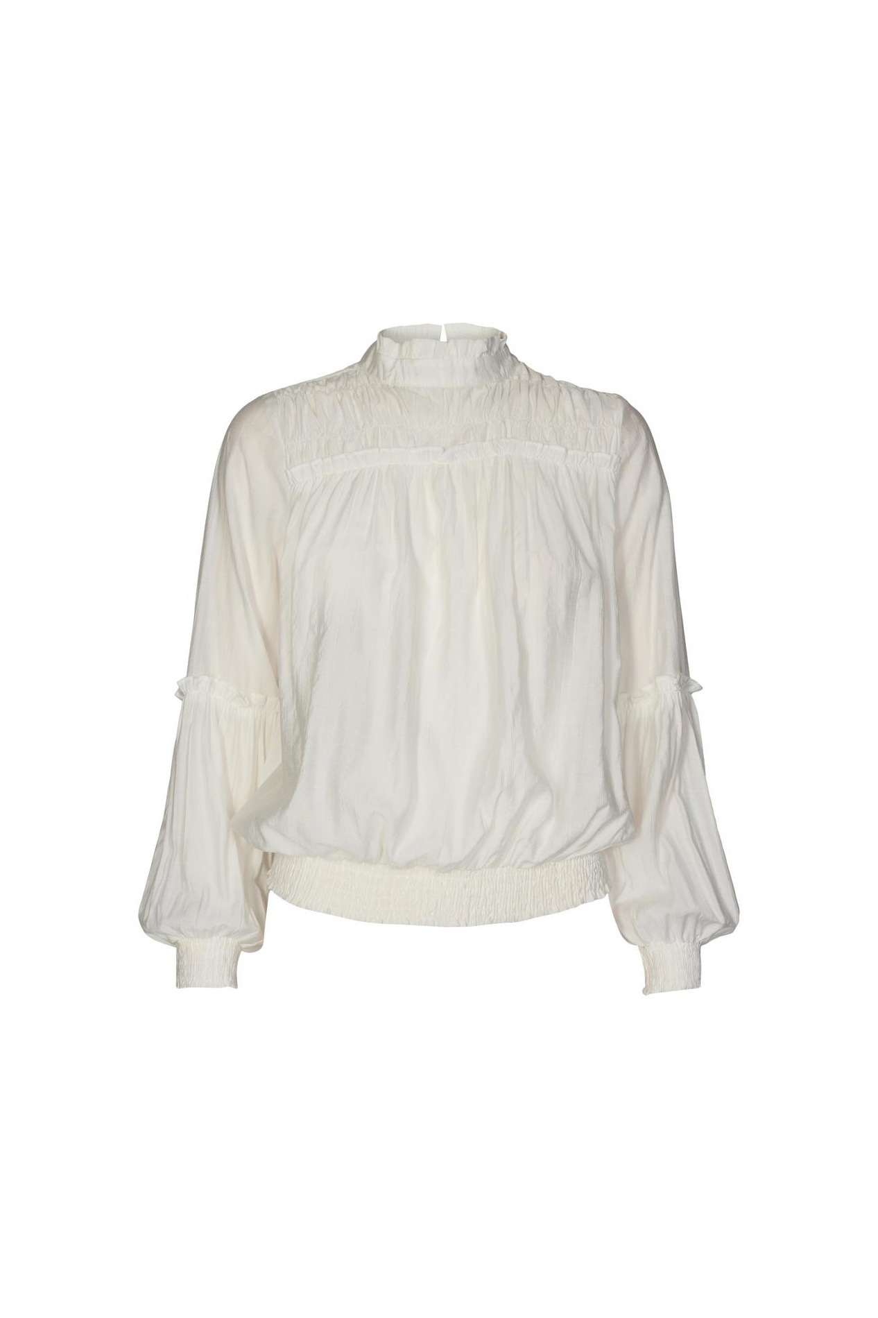 Avery Frill Smock Blouse - Off White-1